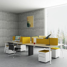 Commercial furniture high quality modern design steel desk frame white table top 4 person office desk workstation
