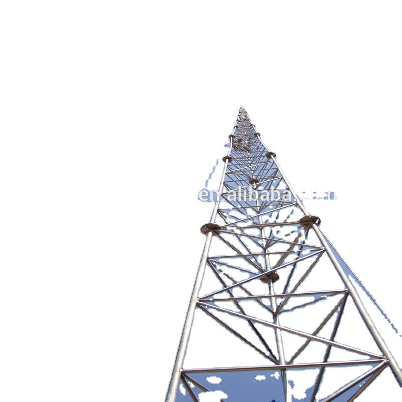 60m galvanized design cell phone telecom microwave steel guyed mast wind tower triangle guyed wire tower