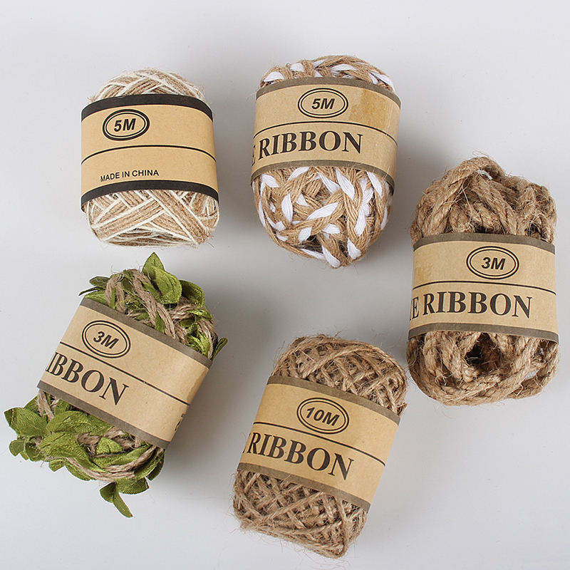 DIY Party Wedding Gift Wrapping Thread Christmas Supplies Natural Burlap Hessian Jute Cord Hemp Rope W0803