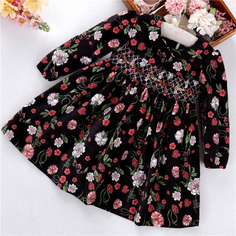 C05868 winter kids dresses for girls dresses smocking brown flower floral long sleeve corduroy kids clothes wholesale