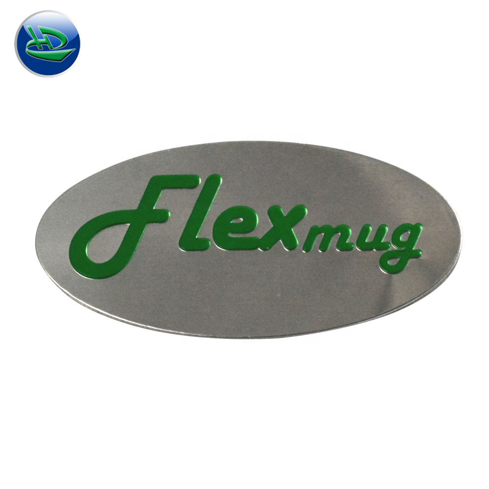 Cheap Nameplate 3D Custom Name Metal Crafts Embossed Painting and Brushed Aluminum Label