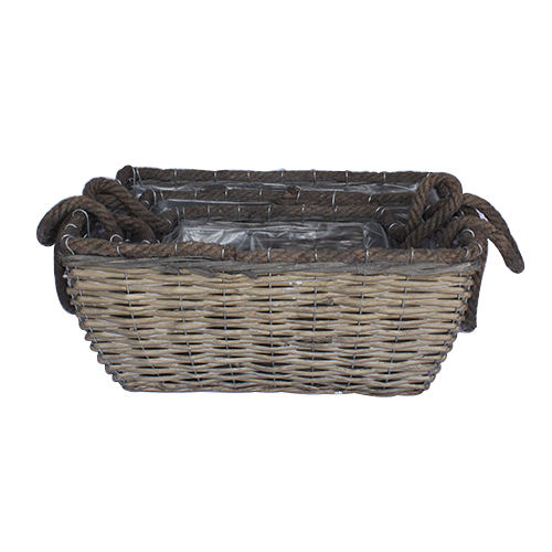 Wholesale high quality cheap home plastic lining planter pots square garden flower woven willow basket with handles
