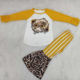 Sunflower Bull Print Kids Raglan Shirt With Stripe Leopard Bells Pants Clothing Sets China Supply Sell Cheap Boutique