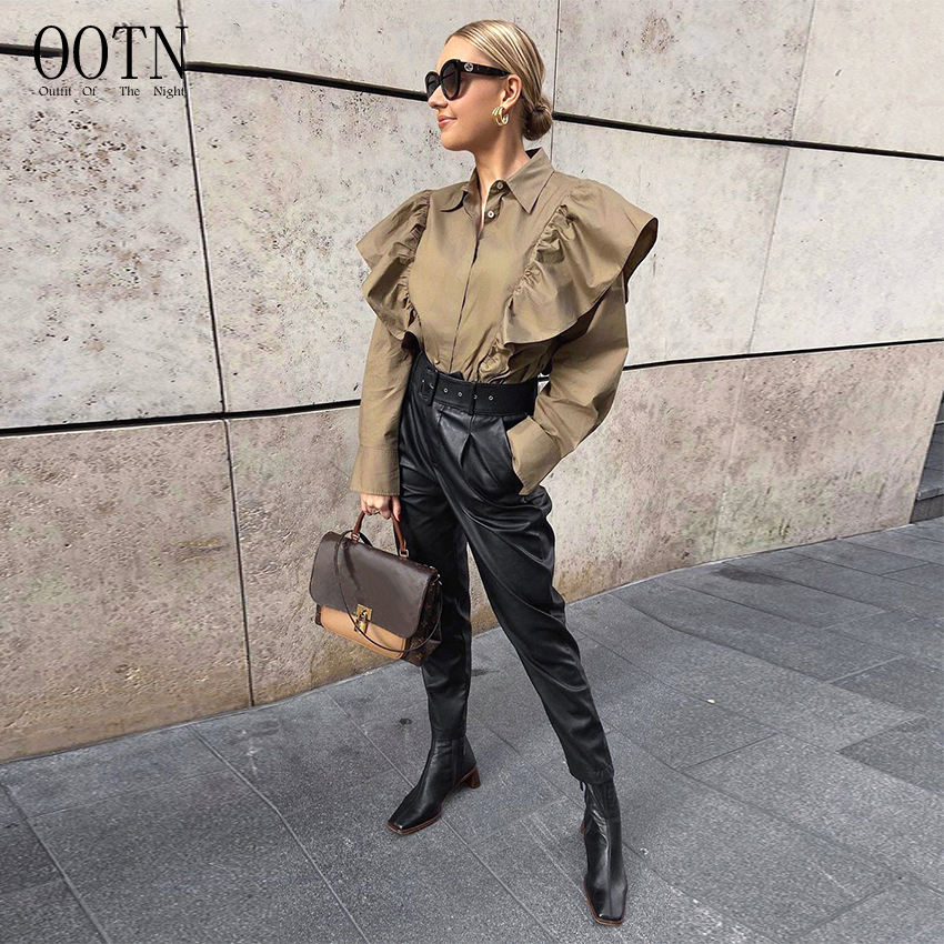 OOTN Female Button Ladies Tops Autumn Spring Blusas Cotton Elegant Khaki Ruffle Blouse Long Sleeve Women Blouses Office Shirt