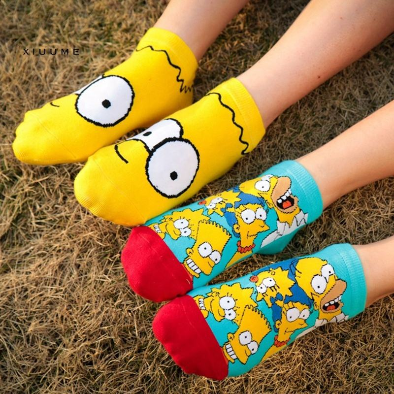 Hotsale high quality 100%Combed cotton cartoon women girl ankle character simpsons socks
