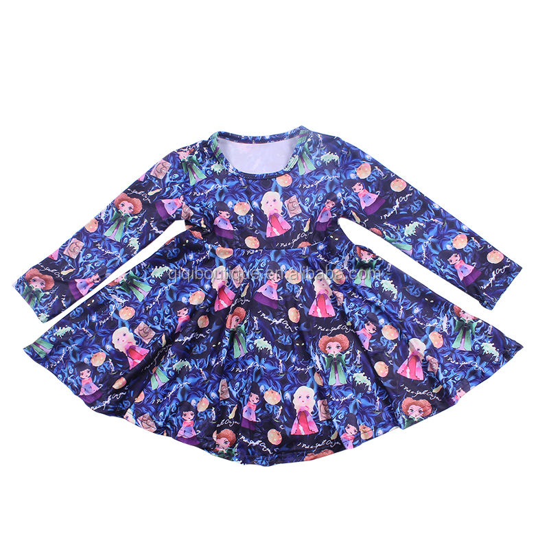 Hot Sale Hocus Pocus Printed Girls Twirling Dress Festival Autumn Children Clothings Milk Silk Round Neck Frocks For Kids