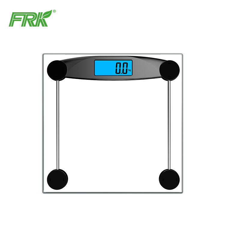Square transparent portable home battery bathroom digital glass body weight scale