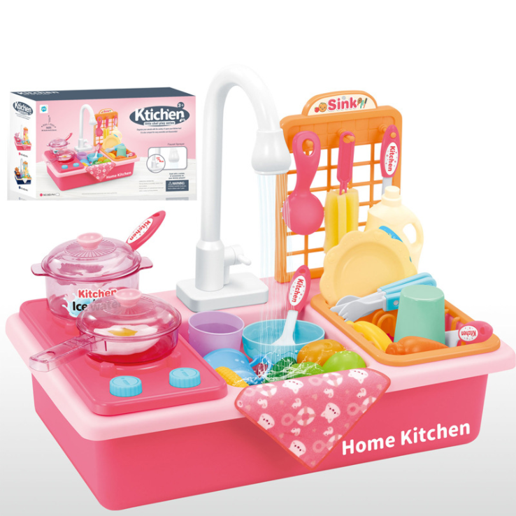 Kitchen Toys Automatic washing table set for children's dishwasher electric toys simulation kitchen