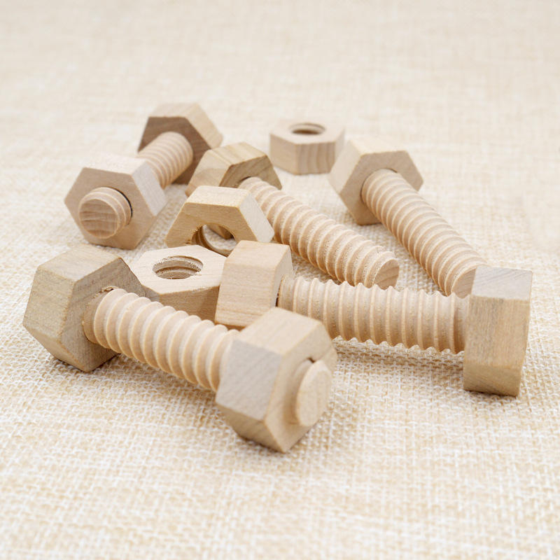 Early Education Screw Nut Assembling Wooden Toy Solid Wood Screw Nut Hands-On Teaching Aid Educational Toy For Child