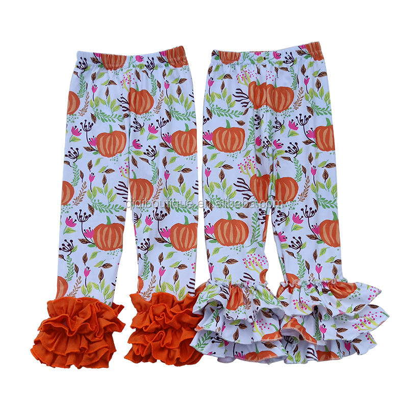 2 Options Cute Girls Leggings Pumpkin Printed Kids Bell And Icing Pants Children Fall New Bottoms