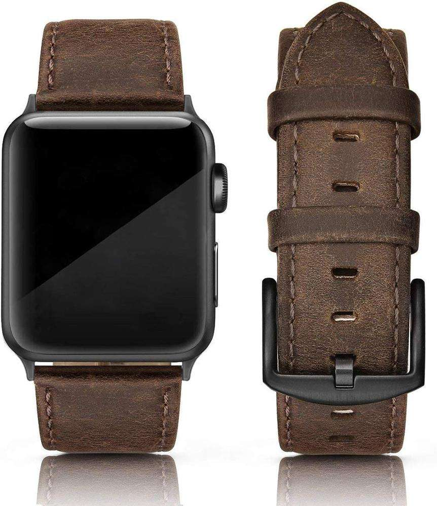 Handmade slim leather loop strap for genuine leather apple watch band