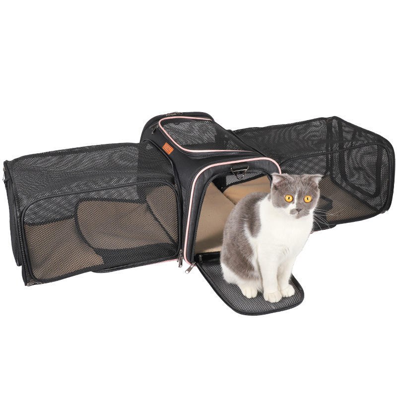Custom pet bag carrier supply cat travel cage expandable pet carrier dog