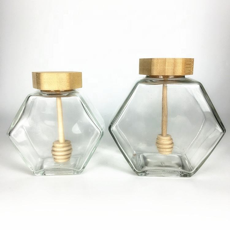 220ml 380ml Clear unique hexagon glass honey jar with wooden lids and dipper
