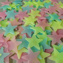 100 pcs/ bag Eco-friendly Fluorescent 3D Star Glow wall stickers luminous star stickers
