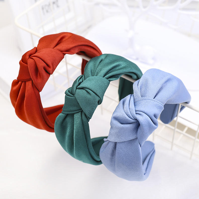 2019 Wholesale Custom Hair Accessories Fashion Girls Forehead Hairband Plain Satin Fabric Knot Headbands Hair Band For Women