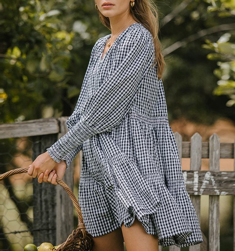 2020 Hot Sell Women Loose Tiered Design Gingham Print Mini Smock Dress Summer Casual Dresses
