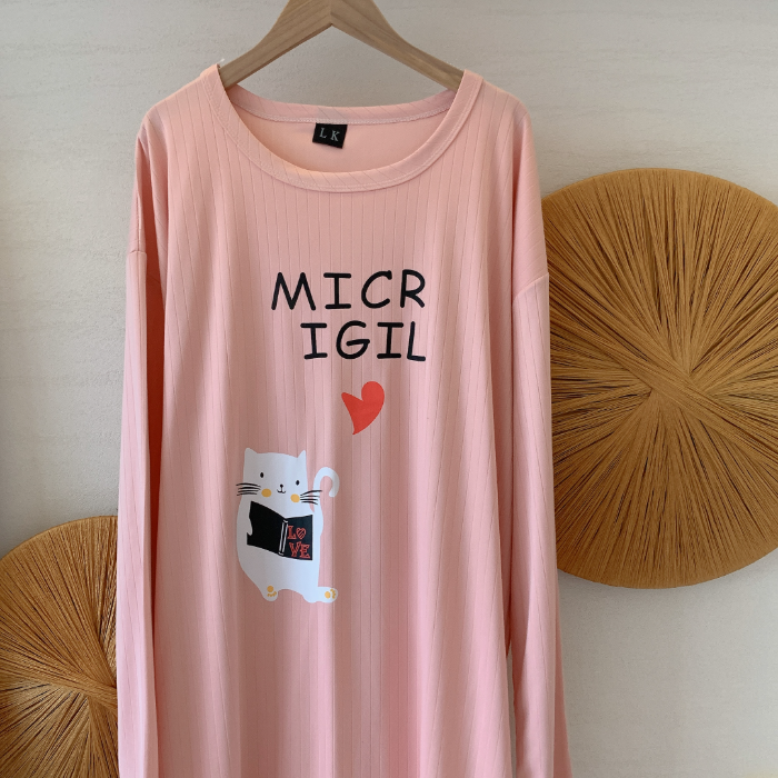 Spring and summer new pit strip long gown cartoon lovely white cat loose big size women's sleepwear