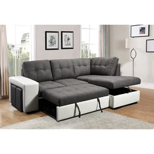 Modern fabric European style L shaped cheap sectional sleeper sofa couch with storage for living room