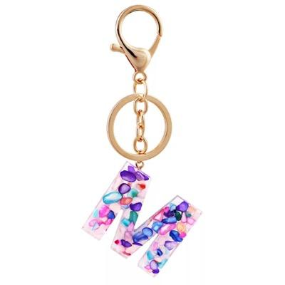 Wholesale Alphabet bag Ring Diamond Personalized Letter Key Chain Acrylic Keychains