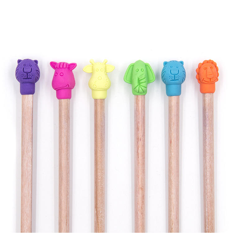 High Quality TPR Stationery Cute Animal Pencil Top Eraser