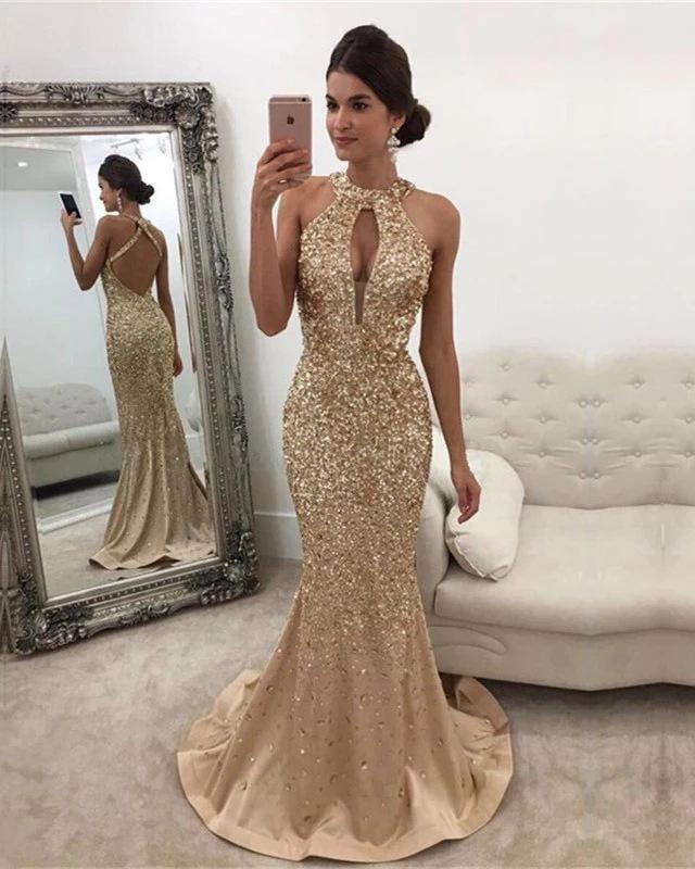 Bling Crystal Beading Gorgeous Mermaid Evening Dresses Sexy Backless Halter neck sleeveless Prom gowns
