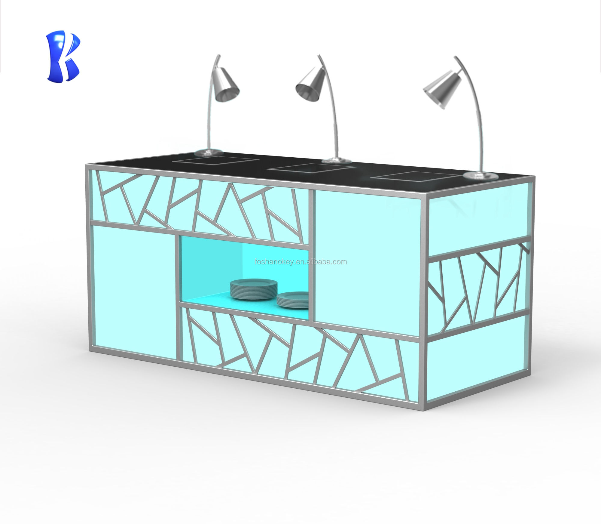 OKEY restaurant supplies kitchen equipment Colorful led light Induction buffet chafing dish food warmer station