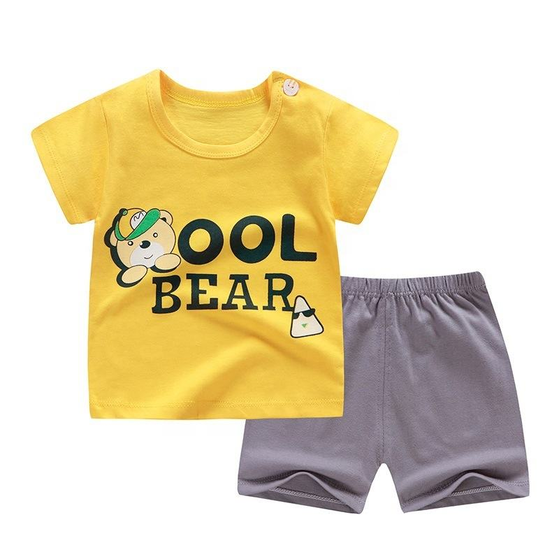 Graphic Customization Cotton Summer Baby Children Soft Shorts Suit T-shirt Toddler Boy and Girl Kids Dinosaur Cartoon Outfit Clothing Sets