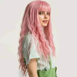 Long Pink Synthetic Hair Wigs Natural Styling Female Cosplay Wigs Heat Resistant Hair Wigs For Hair Vendors