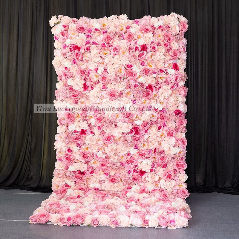 LFB1186 Top selling roll up cloth back hot pink silk flower wall for wedding backdrop decoration