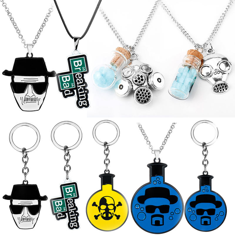 TV Breaking Bad Metal Keychain Inspired Crystal Sky Blue Vial Cork Bottle Necklace for Woman Men Keyring Jewelry Christmas Gift