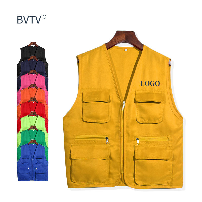 Multi Pockets Cargoes Fisherman Vest cartoon logo Waistcoat For fishing Hiking Journalist Photography Camping Safari Vest