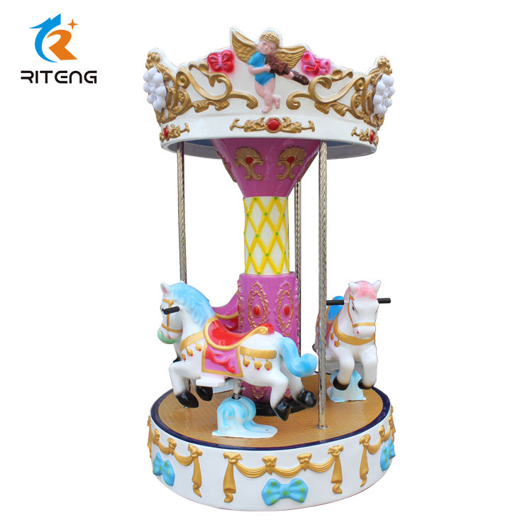 Popular 3 Seaters Mini Carousel Amusement <span class=keywords><strong>Park</strong></span> Kiddie Ride Indoor Game Machine Small Carousel For Sale