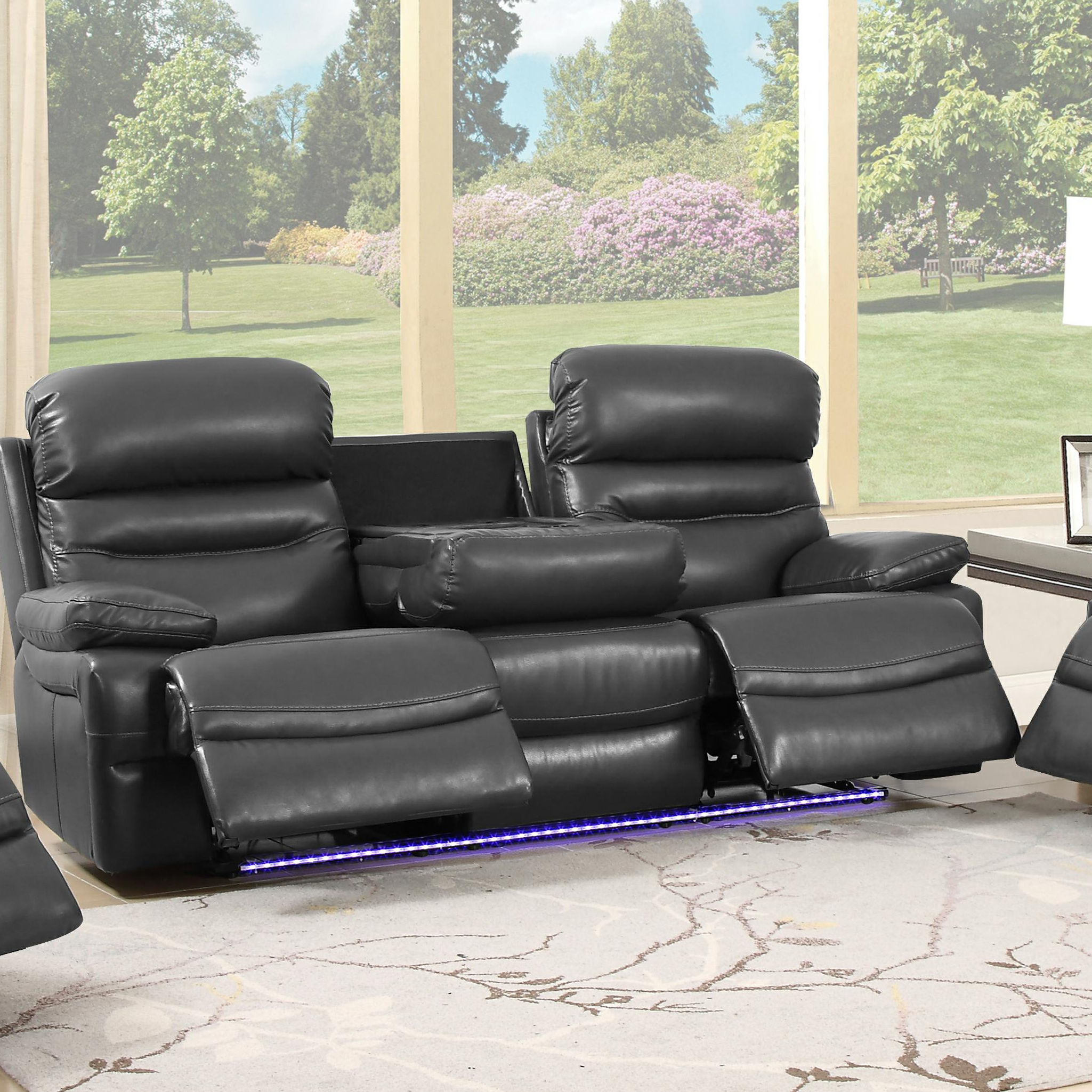 9442 recliner sofa with I-table wireless recharge,bluetooth speaker, USB