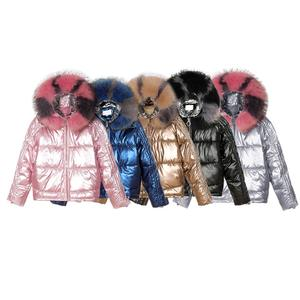 Jtfur Winter Fox Coat White with Fur Hood Women Ultra Light Down Jacket Hooded women patchwork bubble coats with fur