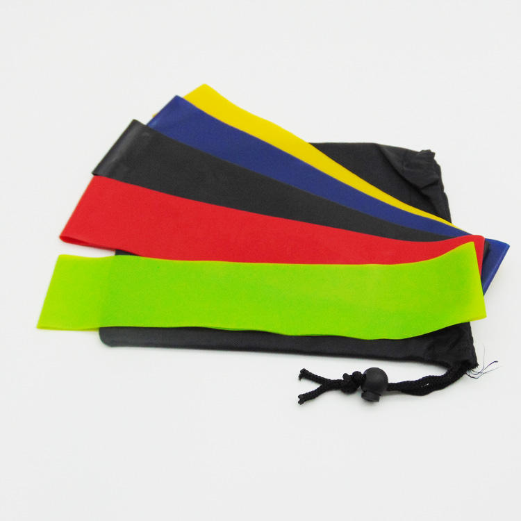 Fitness Resistance Band Set 5 Pcs Black Yellow Bag Green Latex Red Customize Blue Packing Resistance Loop Exercise Bands