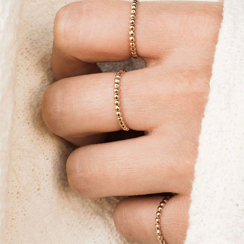 14K Gold Plated Stainless Steel Bead RingsためWomen