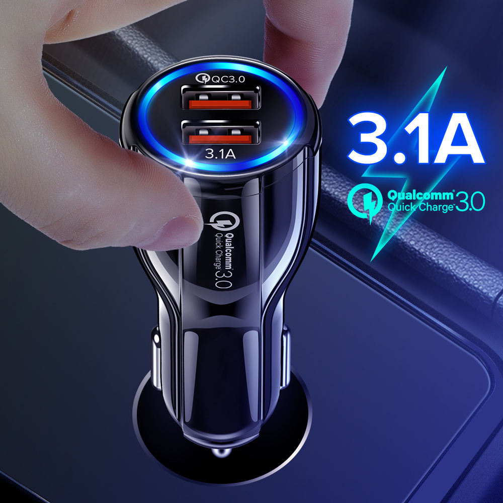 GETIHU 18W 3.1A Car Charger Dual USB Quick Charge 3.0 Universal Fast Charging For iPhone X 11プロXiaomi