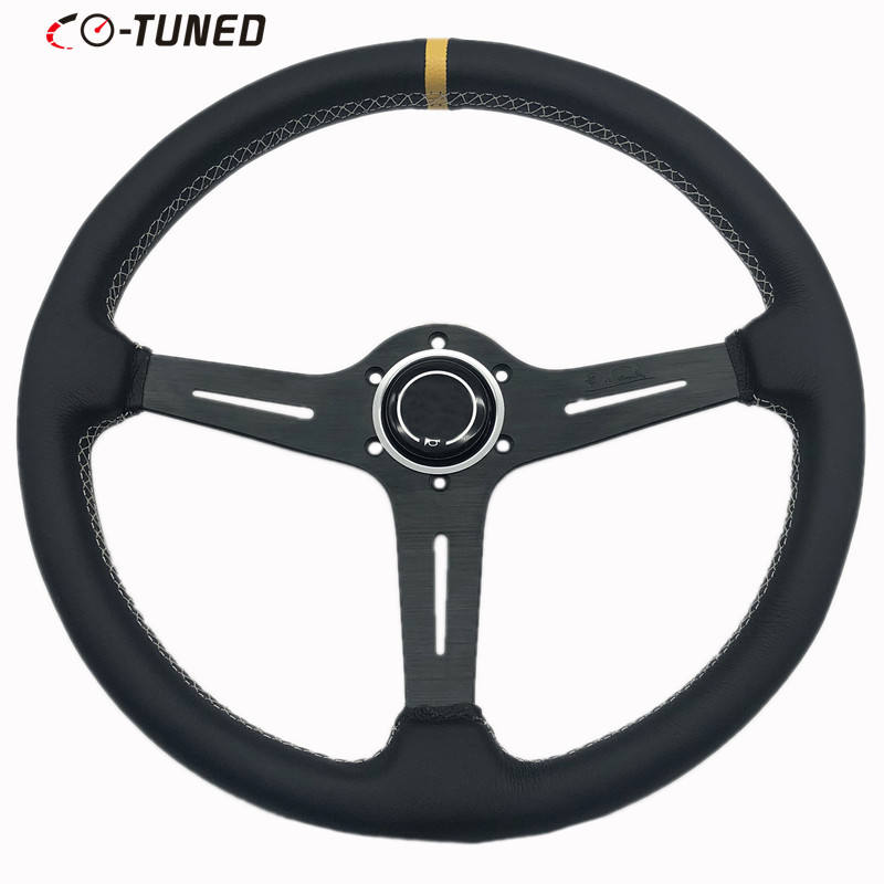 JDM 380mm/15inch Black Spoke Leather Steering Wheel Flat Corn Car Steering Wheel With White Stitching