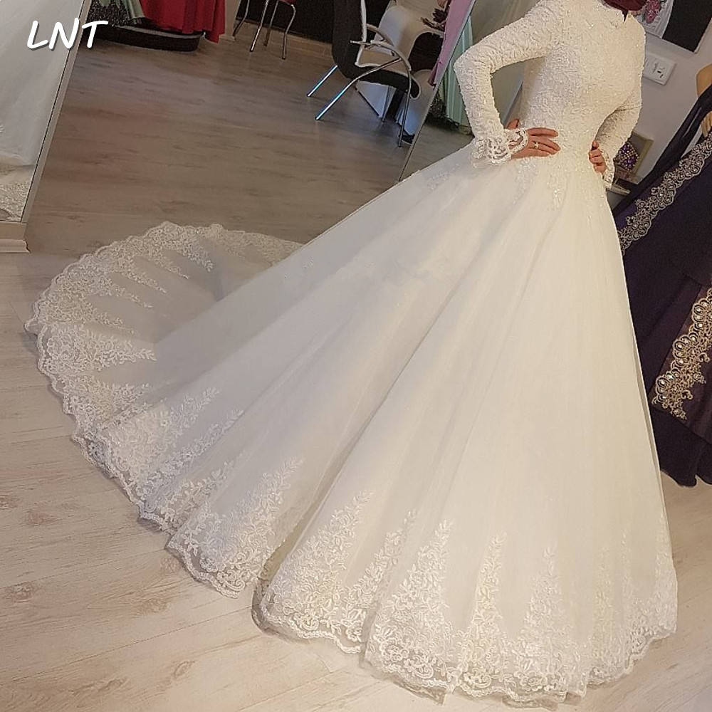 FA176 Modest Muslim Wedding Dresses Long Sleeves High Collar Bridal Dresses Corset Back Ball Gown Design For Bride 2020