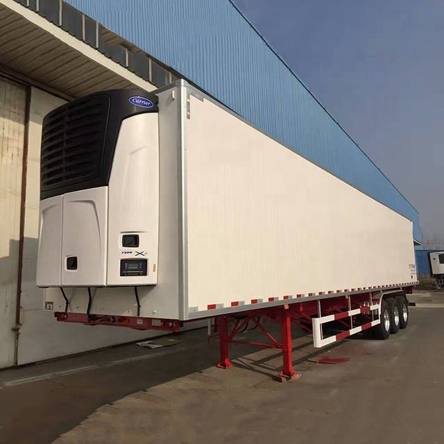45ft 3 axle Frozen Meat FRP coating PUR Refrigeration Semi Trailer with Thermoking carrier Refrigerator Units for frozen meat