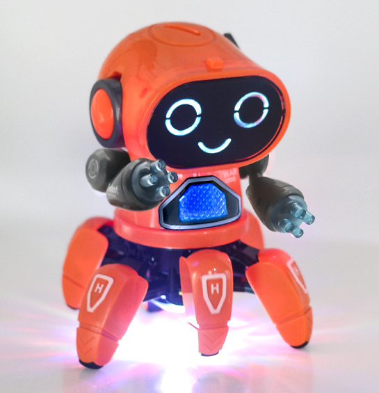 2019 popular type Kids Interactive Toy Electronic Flashing Light Six Claw Fish RC Remote Control Dancing Robot with Music
