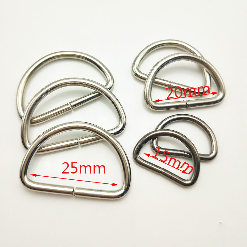 Hard heightened bag metal d ring belt buckle D shape buckle ring for handbags
