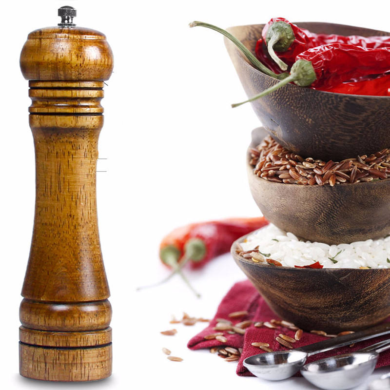 8 inch Oak Solid Wood Salt and Pepper Mill Grinder with Adjustable Ceramic Crusher