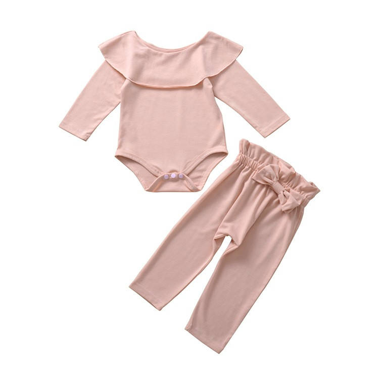 spring and autumn baby girls' organic cotton romper two piece set of bowknot pants