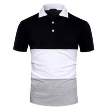 OEM Mens Casual  Cotton Short Sleeve Rugby Private Brand Polo Shirts Color Block