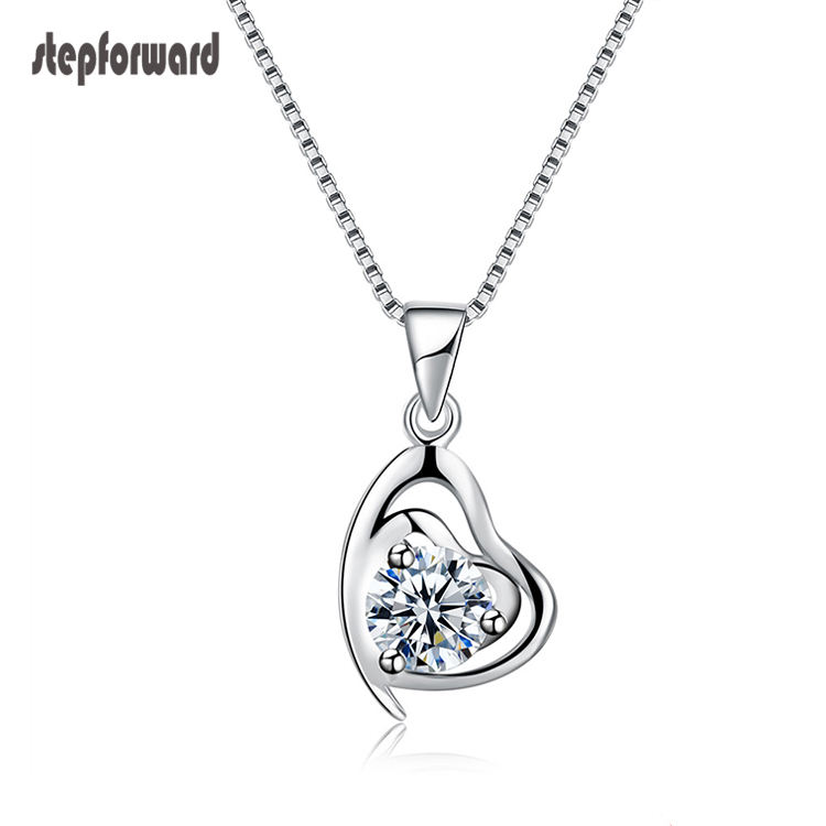 925 Sterling Silver Jewelry Heart Pendant Necklace Women Jewelry Fashion Necklaces