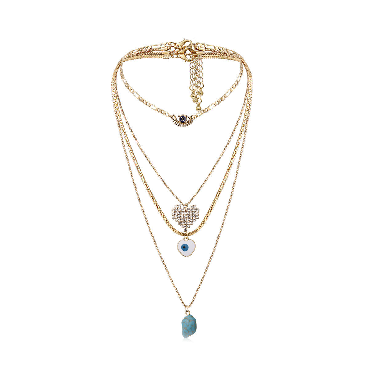 Vriua Fashion Multi Layer Vintage Verklaring Emaille Zirkoon Shiny Heart Shaped Crystal Olie Eye Turquoise Charm Choker <span class=keywords><strong>Ketting</strong></span>