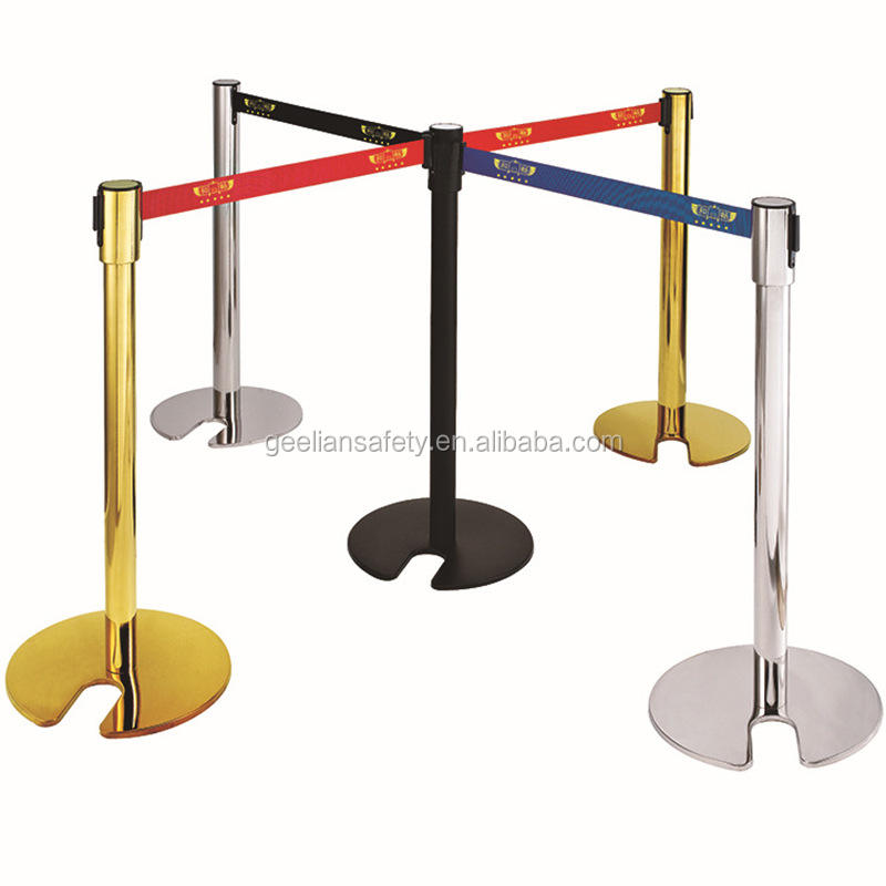 Folding hotel railing crowd control barrier stanchion retractable airport detachable queue pole
