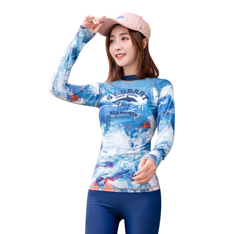 Long Sleeve Quick Dry Digital Printed UV Protection Women Rashie Chlorine Resistant Rash Guard