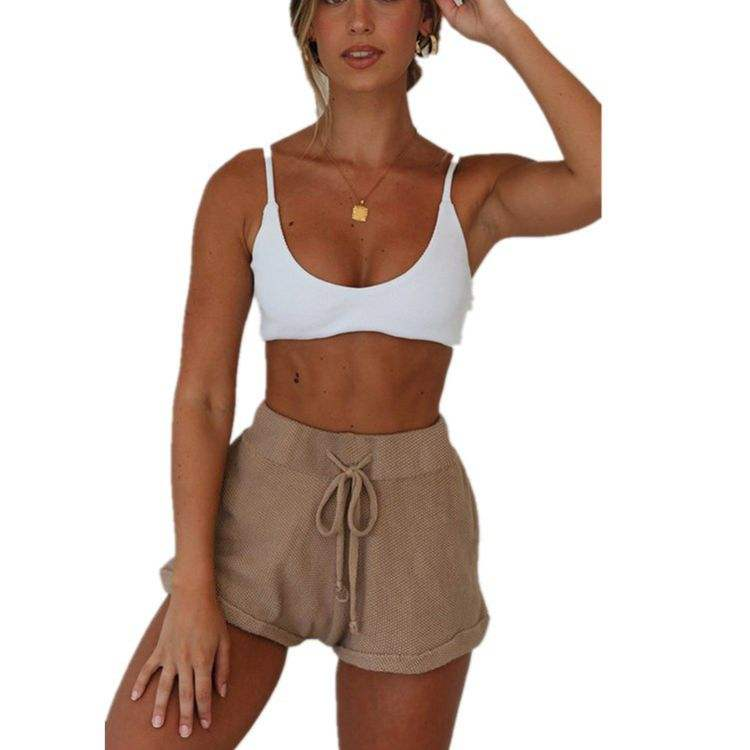 New Summer casual high waisted shorts women loose Tie Belt shorts Bottoms Trousers Hotpants